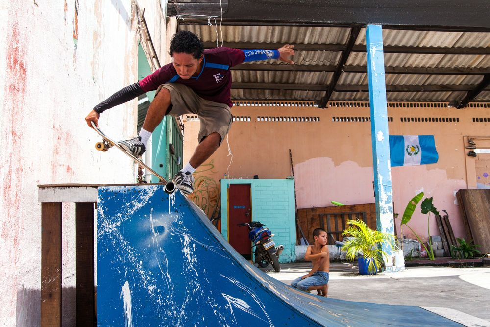 Guatemala: Puerto Quetzal, Guatemala :: A young man skates at Motivo Urbano, a nonprofit organisation that uses skateboarding as a tool to connect with children and young people. More Info