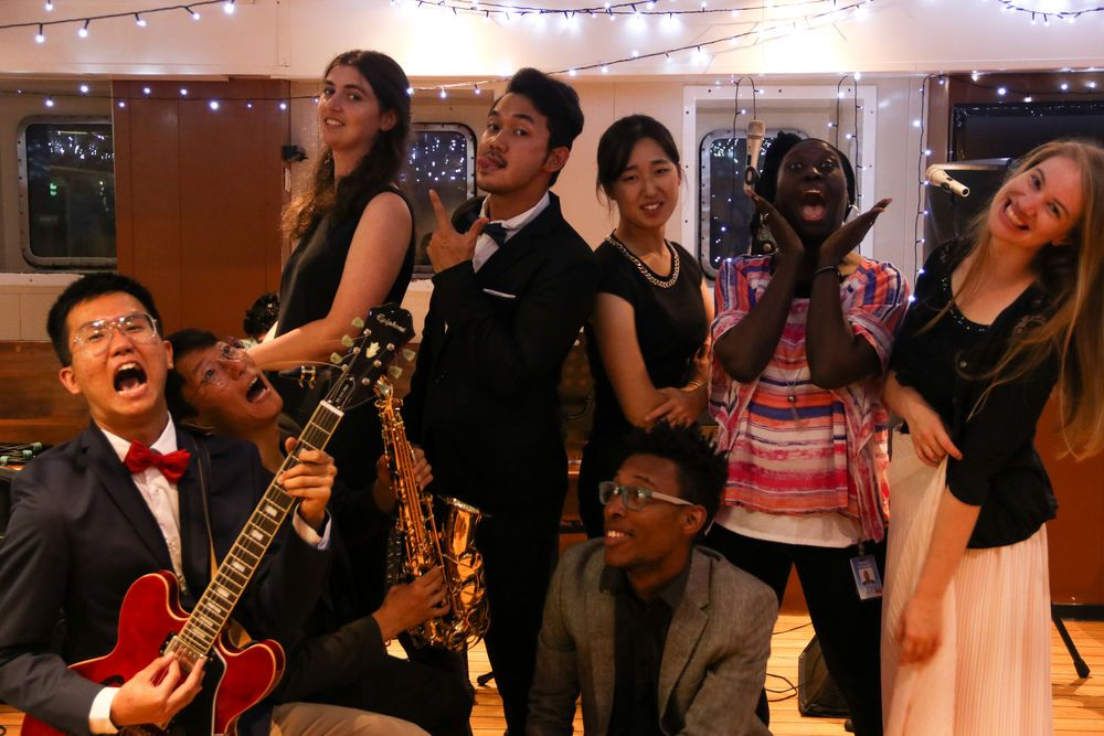 Ecuador: Manta, Ecuador :: Crewmembers have fun at a singer / songwriter night held for the community on board. More Info
