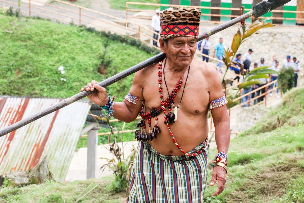 Ecuador: Guayaquil, Ecuador :: A man from a tribal area wears his traditional costume. More Info
