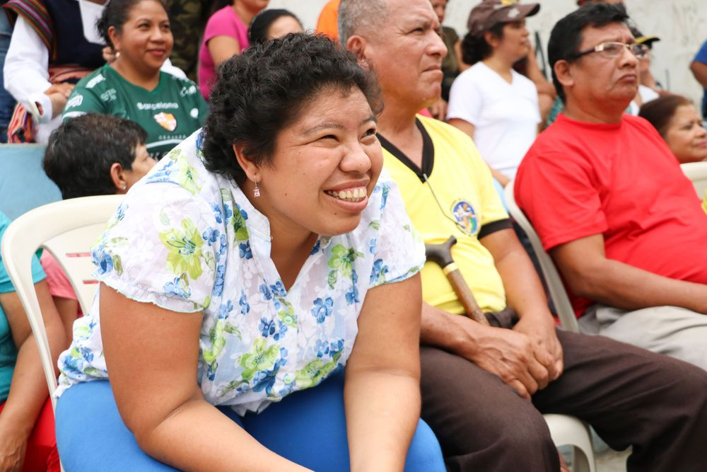 Ecuador: Guayaquil, Ecuador :: A woman listens intently as a team from the Logos Hope shares a message of hope. More Info