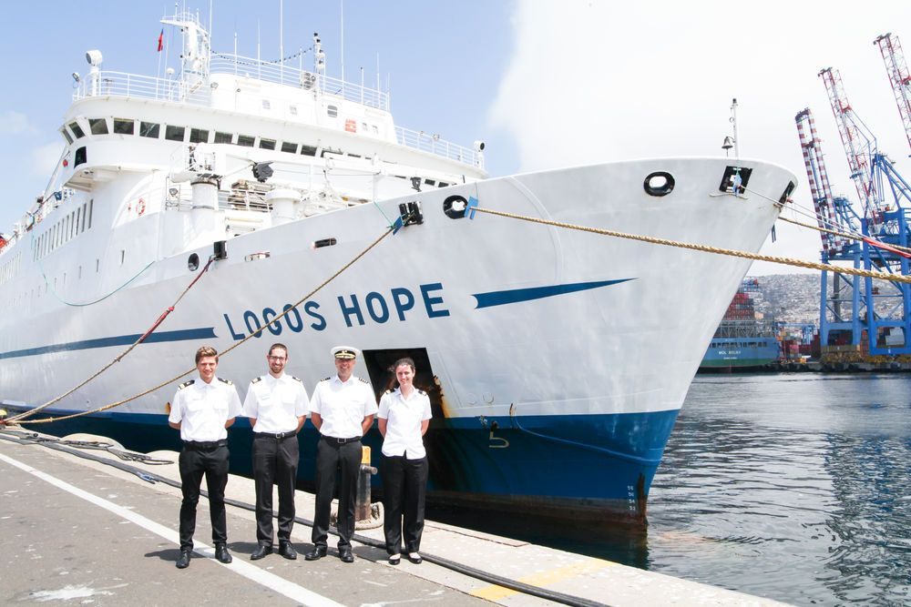 Chile: Valparaiso, Chile :: Logos Hopes technical team on the quayside. More Info