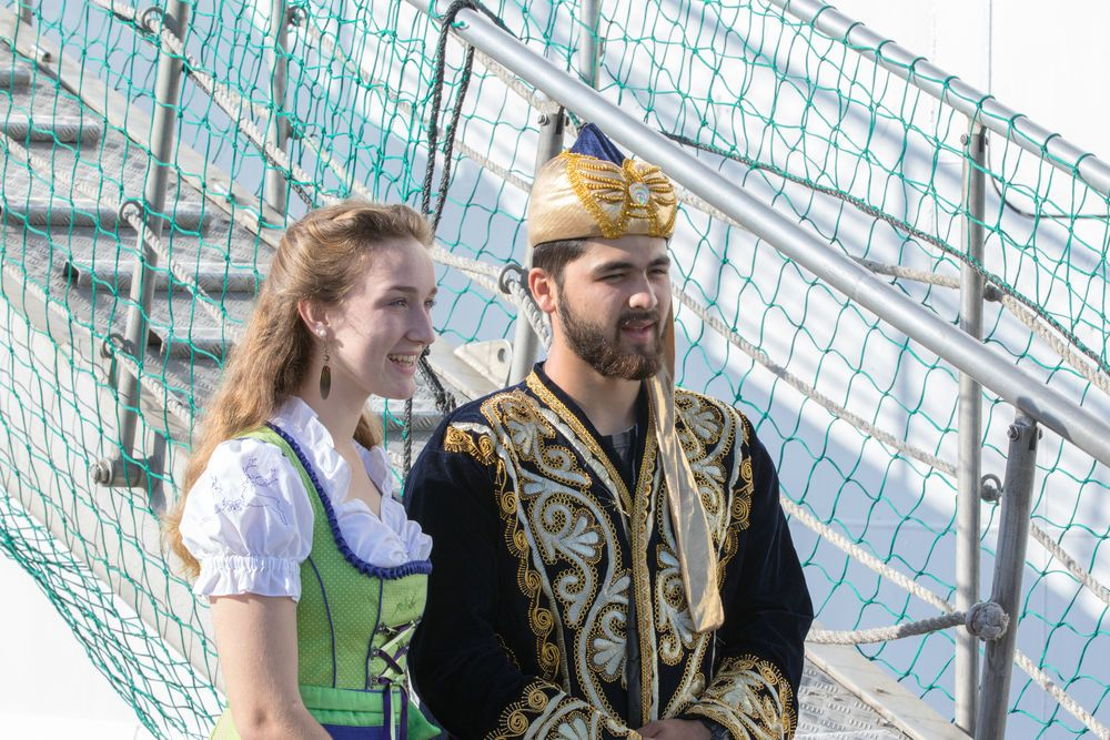 Chile: Valparaiso, Chile :: Nadine Betz (Germany) and Otabek Kazykhodzhaev (Western and Central Asia) welcome visitors to the official opening of Logos Hope in port. More Info