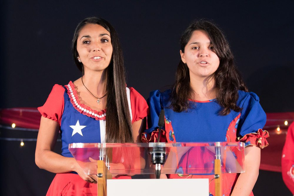 Chile: Valparaiso, Chile :: Karen Toro Parra (Chile) and Vale Pereira (Chile) represent their country at the official opening of Logos Hope in port. More Info