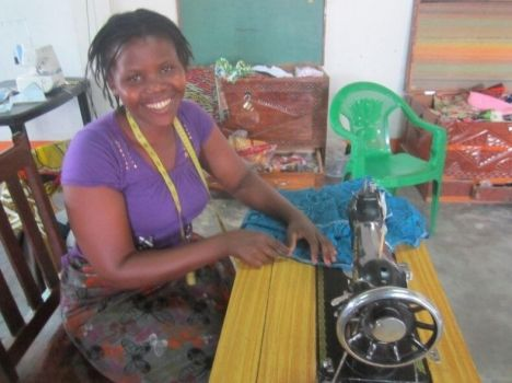 Otilia and her sewing machine