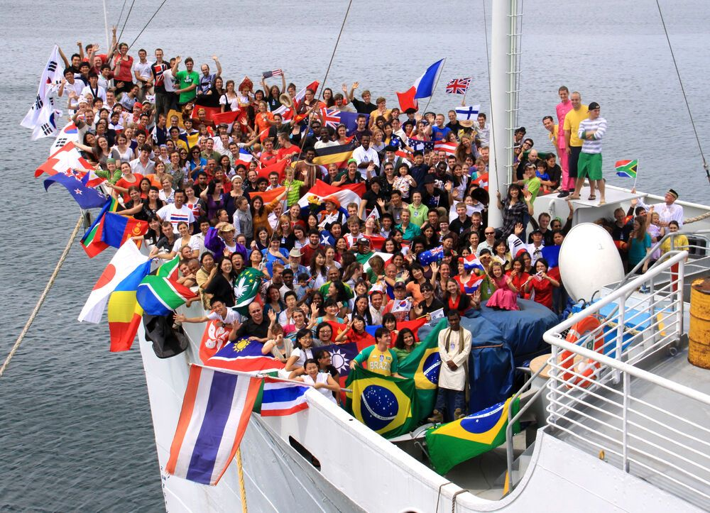 The 320 international volunteers who made up the final crew of MV Doulos. Doulos was decommissioned after 32 years as an OM ship, but the ministrys impact carries on through churches which were planted around the world.