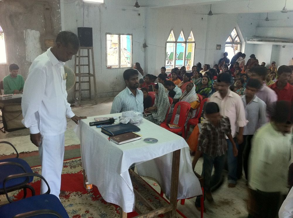 India: Visakhapatnam, India :: Pastor Abraham Singh Sivalanka (left) and his son Sunder serve at Logos Church. More Info