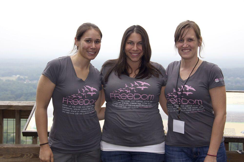 United States: Atlanta Freedom Climb Participant Julia Brett (left) with OMers Sarah Bradfield and Celia Shortt, May 2012 More Info