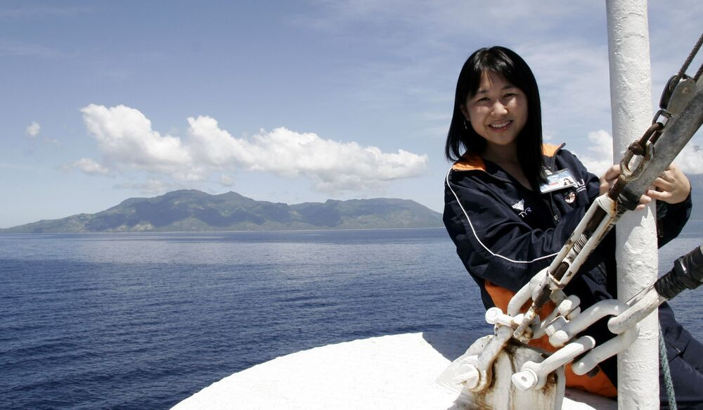 Singapore: Jiamin Choo, from Singapore, at the bow of Doulos on the voyage to the Philippines.  More Info