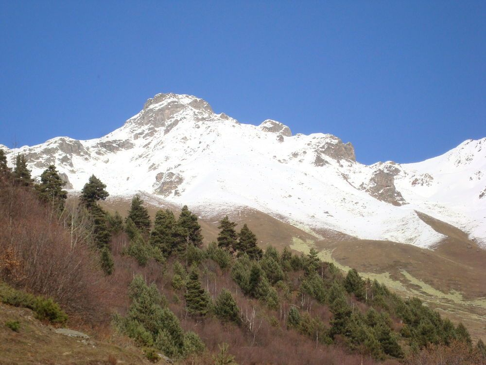 Snow-covered mountains in the Caucasus