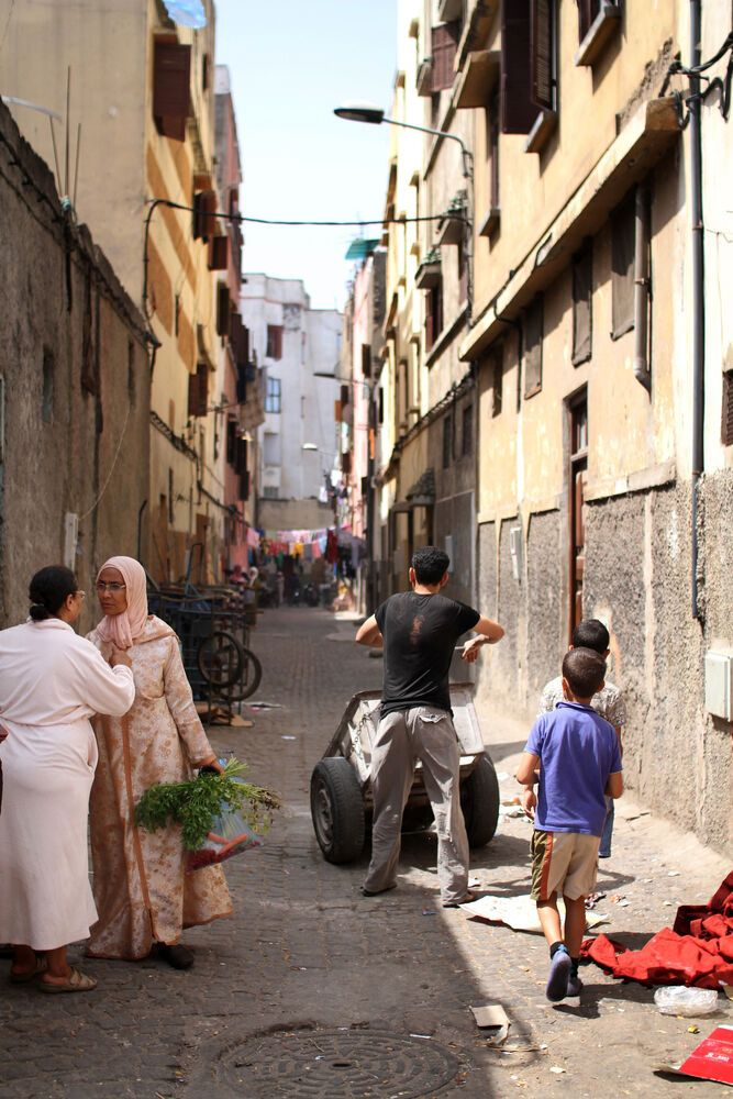 North Africa: Alleyway in the old city brings neighbors close.  