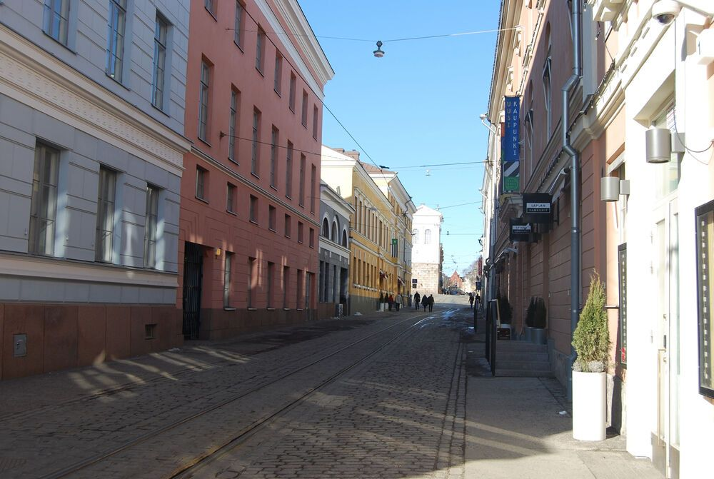 A street view in downtown Helsinki, Finland.