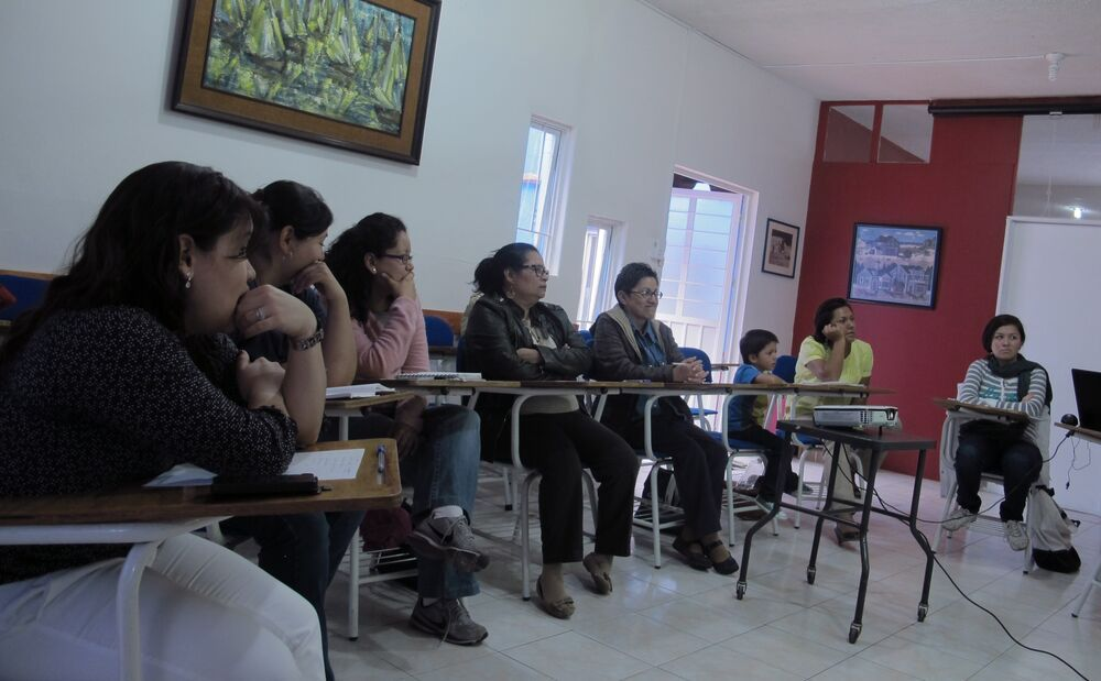 Mexico: People are gathered for the weekly prayer meeting at the OM Mexico office. More Info