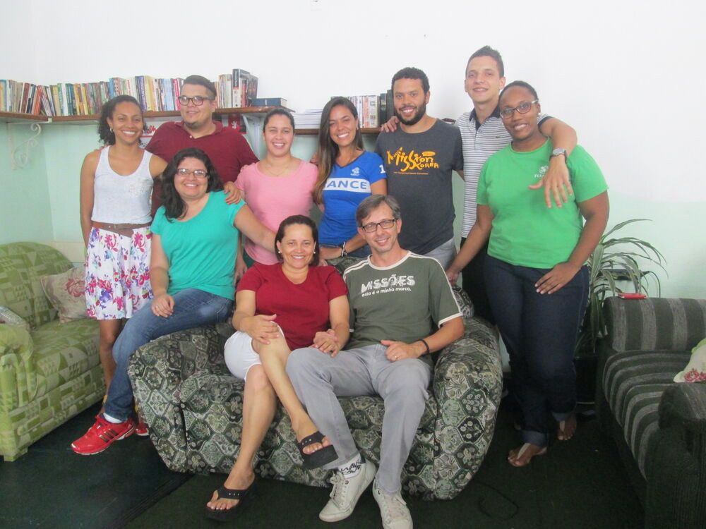 OM Brazil field leader Vitor Christovam with new workers in his team.