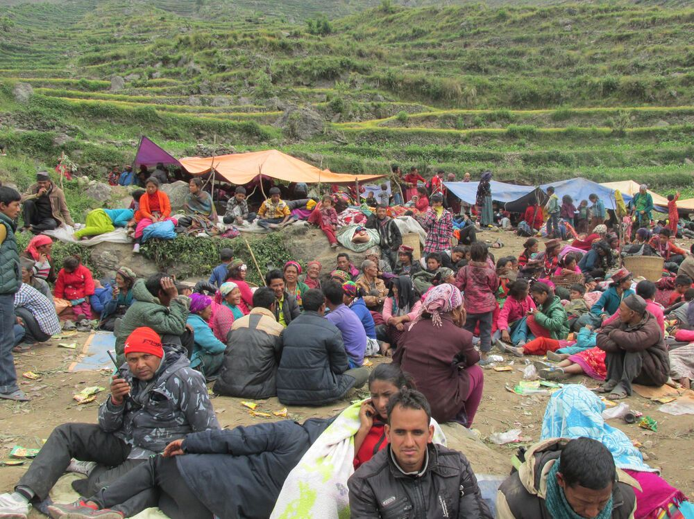 Nepal: In Rasuwa, located in a valley, refugees wait for aid to arrive after fleeing avalanches and landslides caused by the earthquake.  More Info
