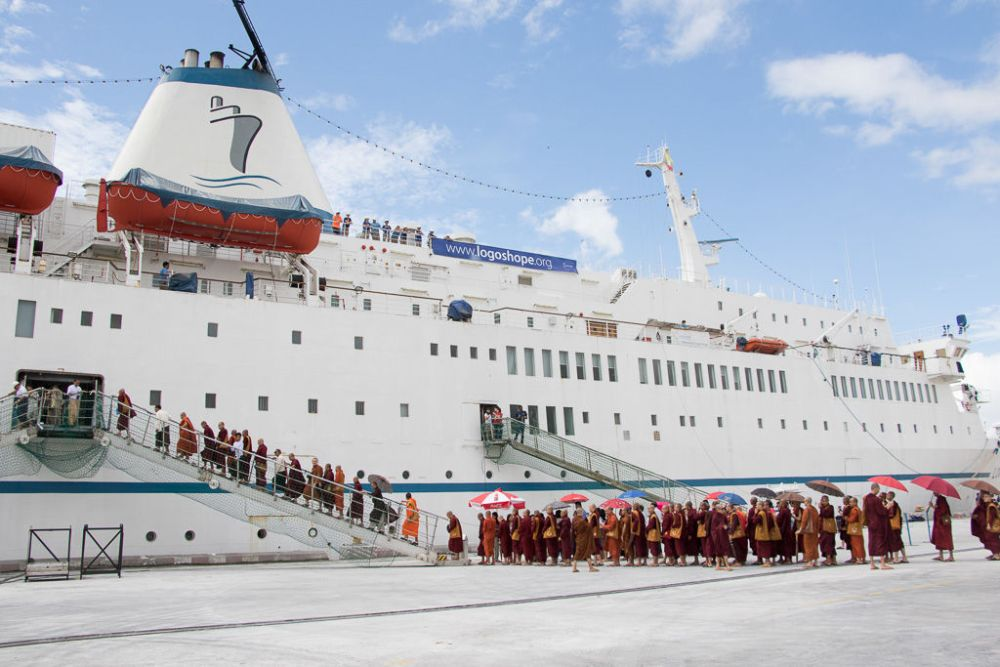 Ships: Yangon, Myanmar :: Buddhist Monks from a Buddhist Missionary School come onboard Logos Hope for an event. More Info