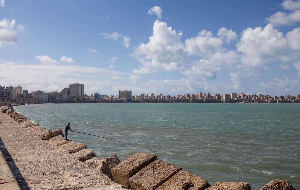 North Africa: Cityscape follows the shoreline of North Africa.  
