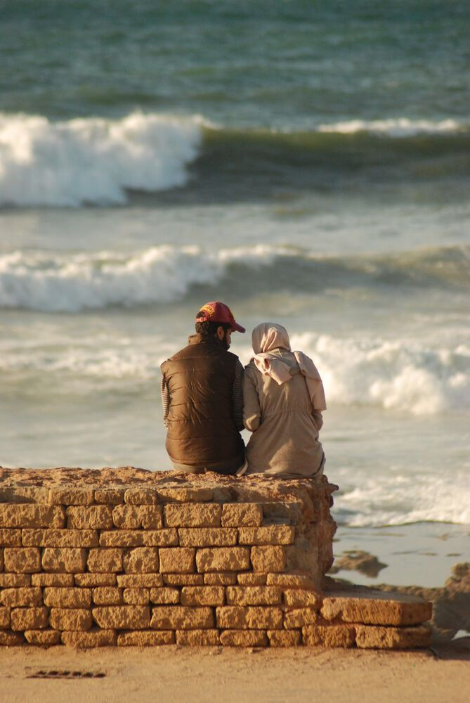 North Africa: Couple enjoys the view in North Africa.