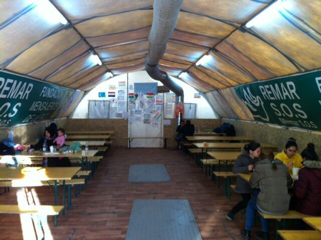 Tent in refugee camp in Sid, Serbia. At first OM helped run the tent with Remar, but after this organisation left OM is now the owner. In the tent volunteers offer food and drinks and activities.