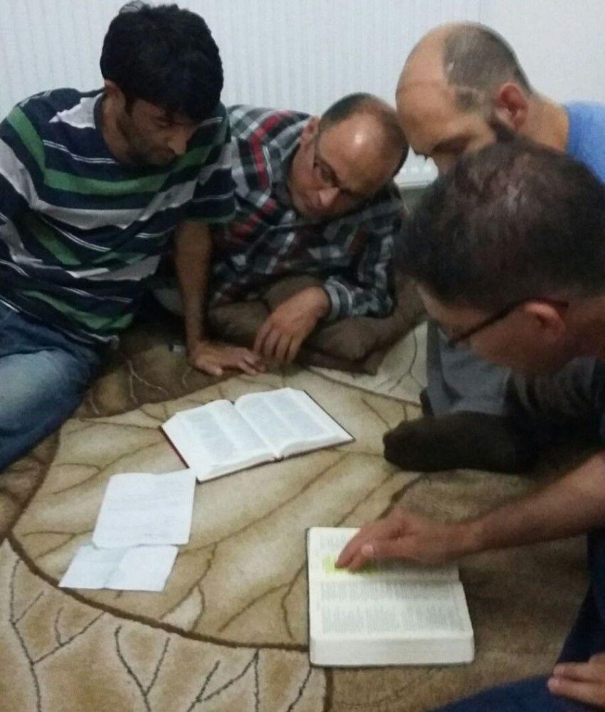 Turkey: Believers in Tekin study Bible on floor More Info