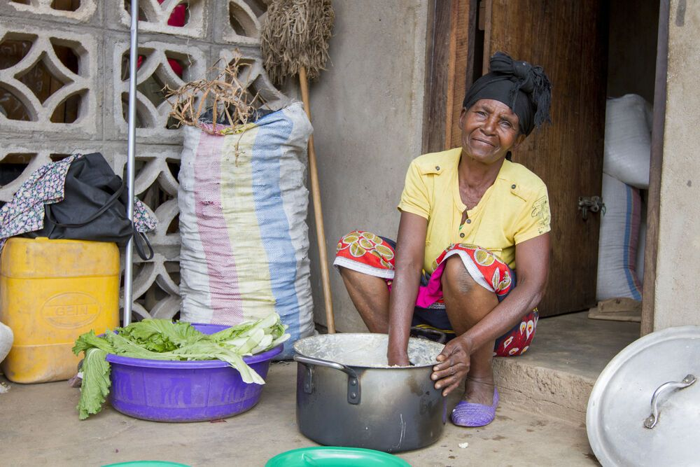 Abaku (meaning grandma) cooks at the Mbweni School in Chisopi, Malawi. Abaku came to know Christ after an OM worker started a Bible study in her village and has since become the school cook.