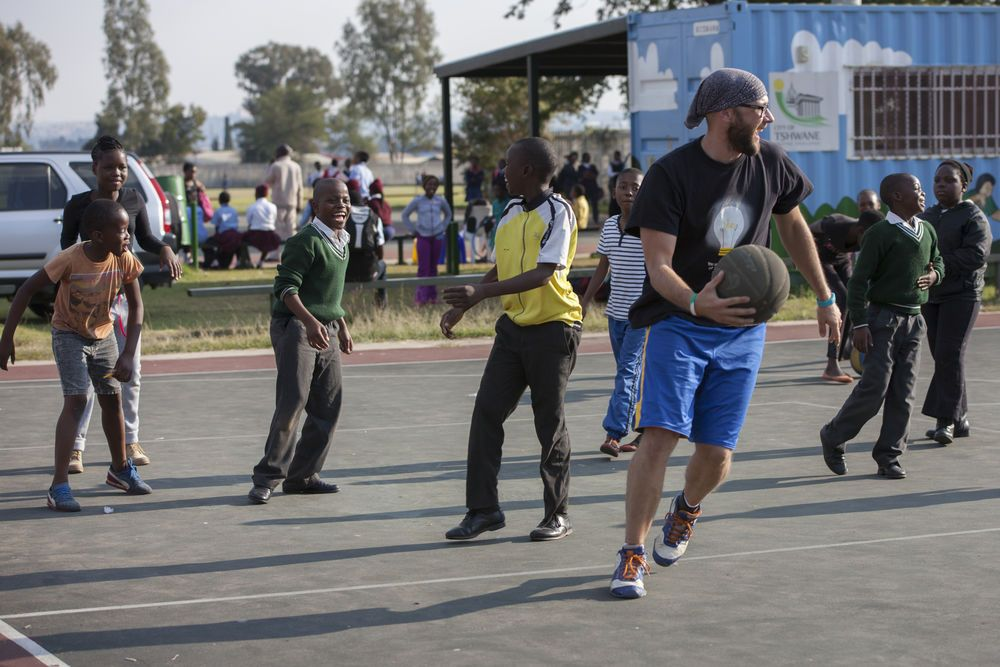 South Africa: Jan Willem Otten plays basketball with underprivileged children in Mamelodi, South Africa. More Info