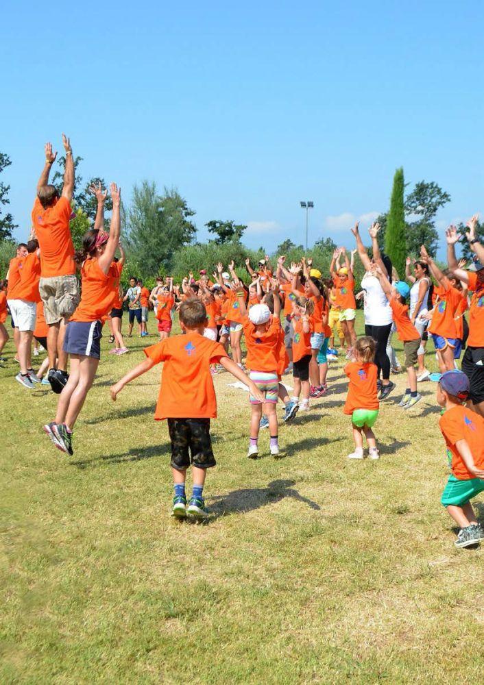 Kids and staff dancing