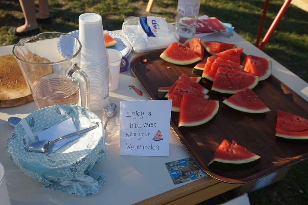 Austria: Free watermelon as a means to come into contact with people at a lake. More Info