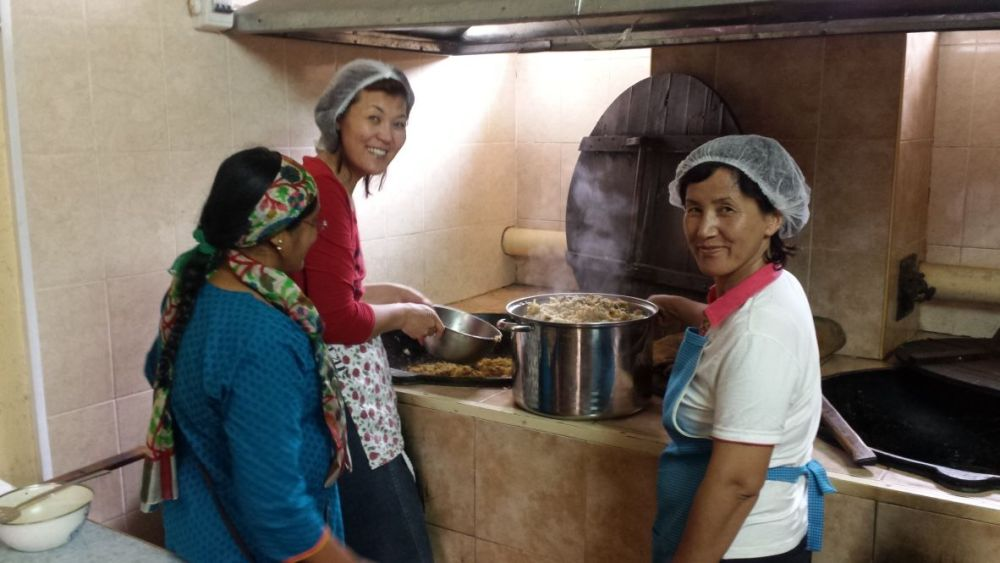 Central Asia: Women at catering center in Central Asia. More Info