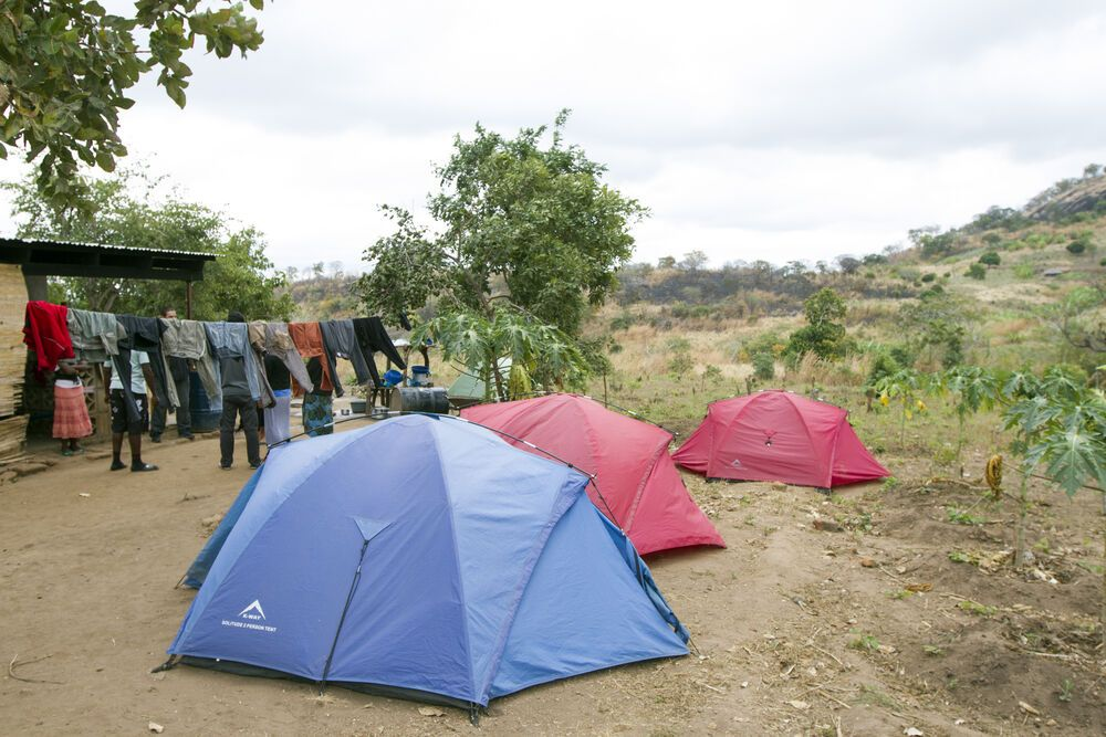 Zambia: The Africa Trek tents outside of the base in Chisopi, Malawi. More Info