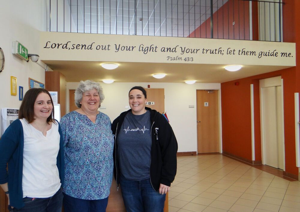 OM Hungary team members (L-R) Corrie Arrowsmith, Rebecca Lingenhoel, and Suzanne Cole at the International Christian School of Budapest where they teach and serve Hungarian and international students.