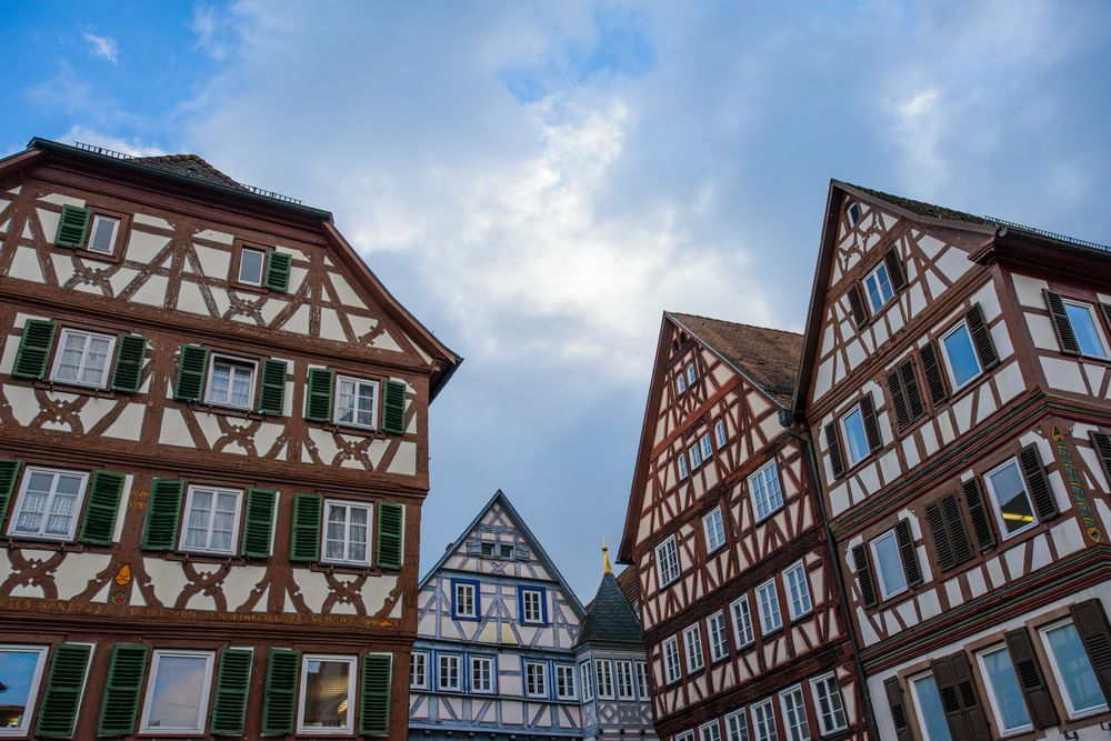Traditional German houses against a blue sky in Mosbach Germany.  Photo by Garrett N