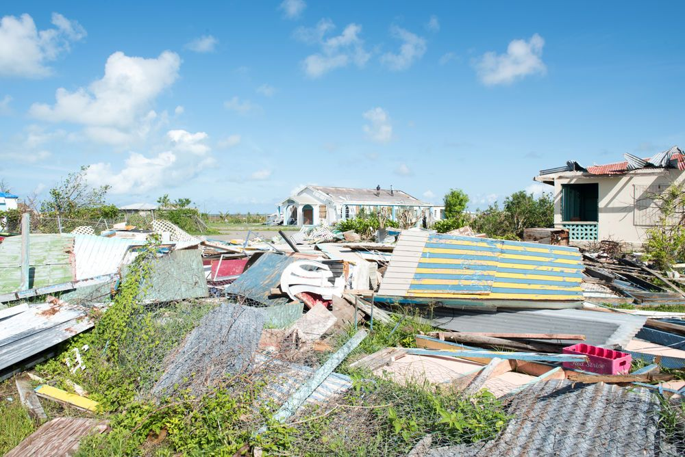 Destroyed houses on Barbuda after Hurricane Irma.