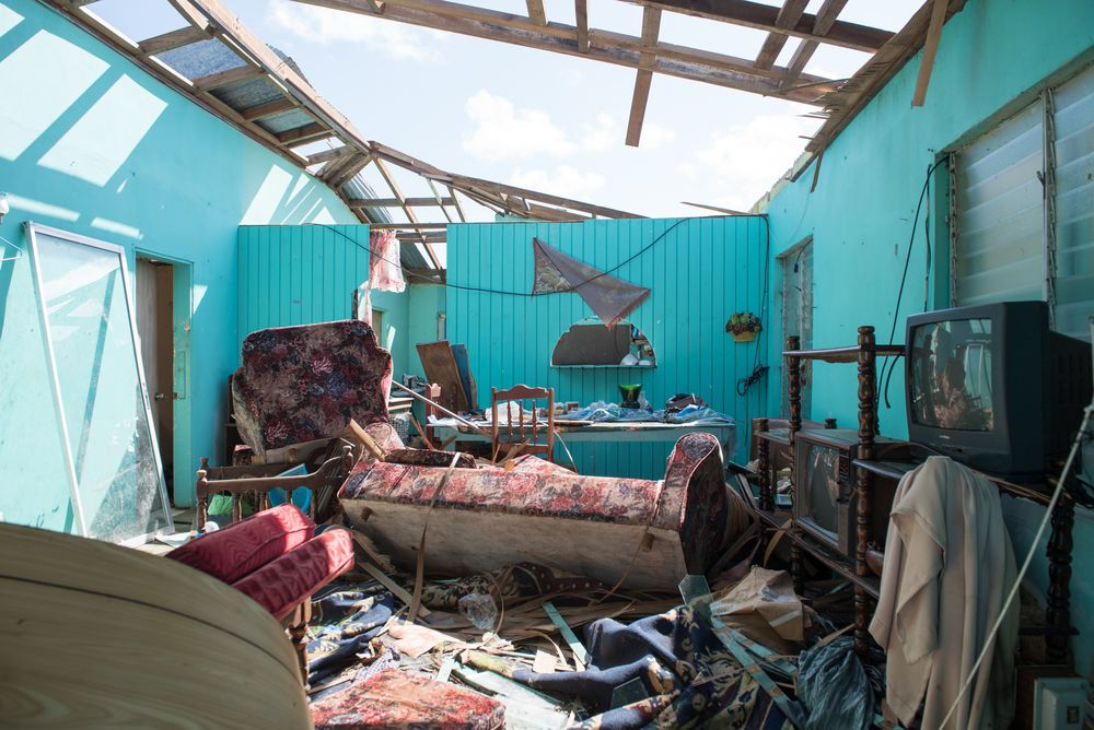 A destroyed house on Barbuda after Hurricane Irma.