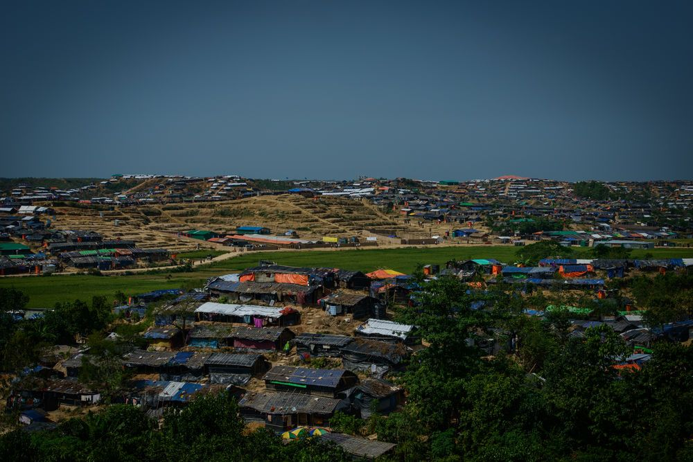 A view of one of the many refugee camps that have sprung up around Cox?s Bazar to house more than 607,000 Rohingya. Photo by Garrett N.