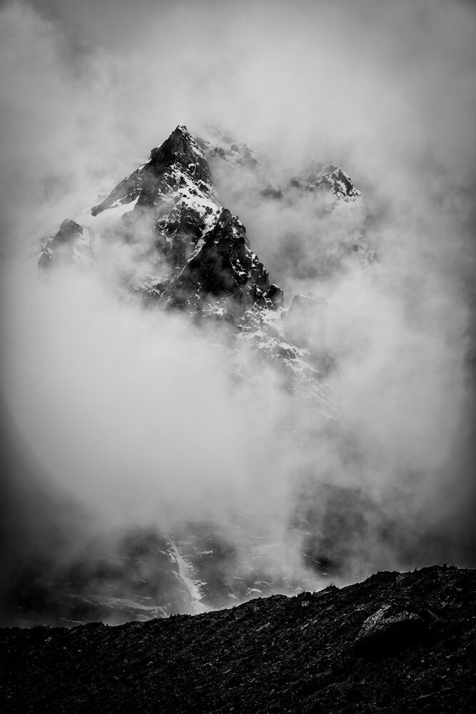 The woman of the Freedom Challenge summited the 15,200 foot pass adjacent to this massive and mysterious peak.  Photo by Garrett N