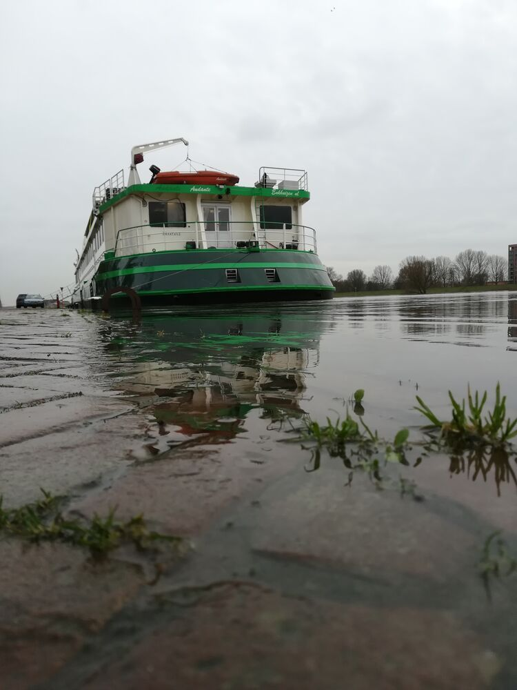 Risen water levels in the Rhine river where the Riverboat is berthed.