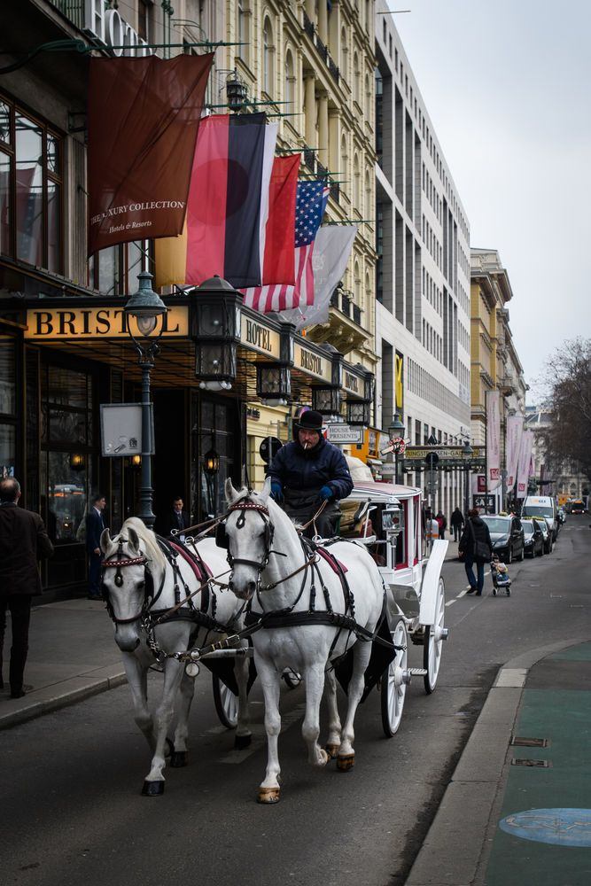 A Fiaker (horse-drawn cab) in Vienna - sightseeing for tourists.
