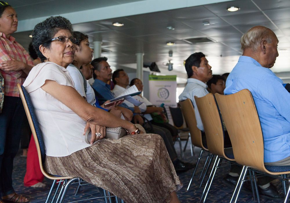 Mexico: Veracruz, Mexico :: Visitors listen at an event on board Logos Hope. More Info