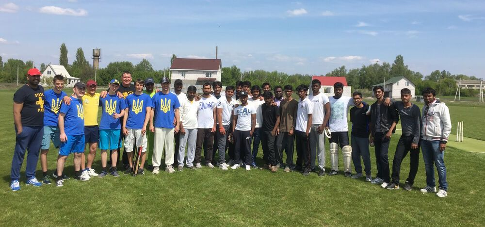 Ukrainians and Indians are ready for a cricket match in Kaharlyk, Ukraine.