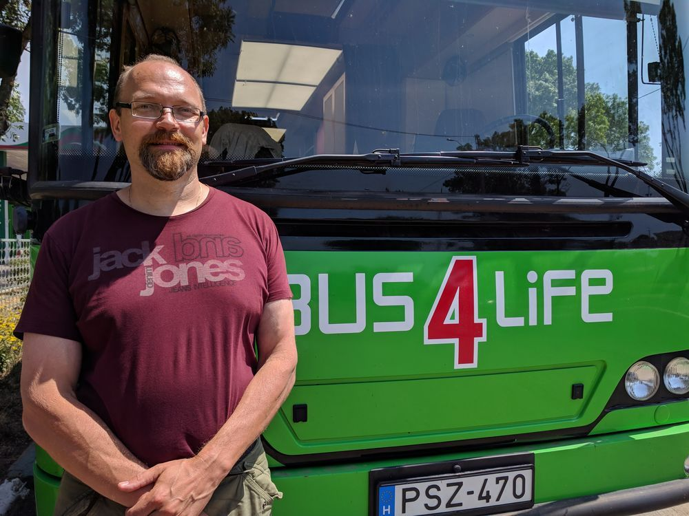 Teemu Laitinen serves as the Bus4Life driver.