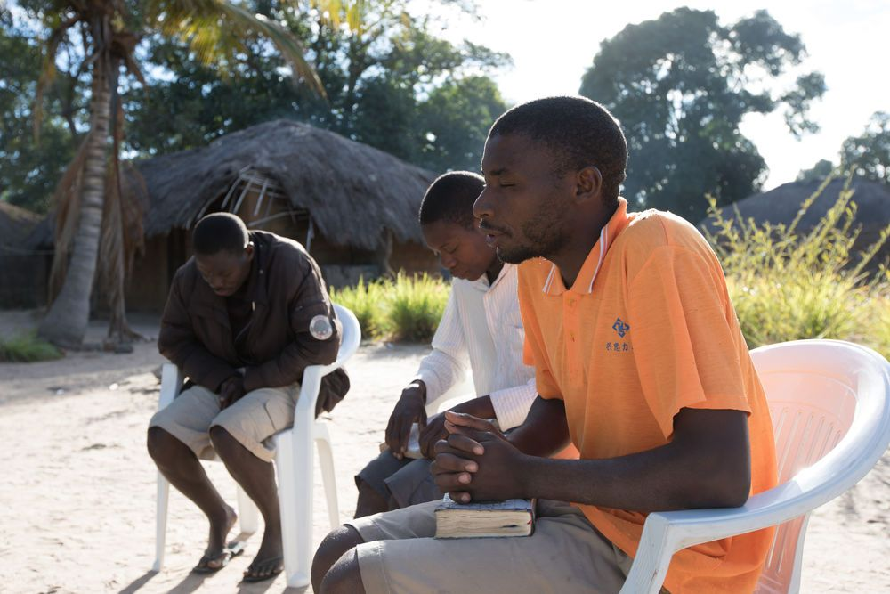 The team in northern Mozambique doing devotions together.