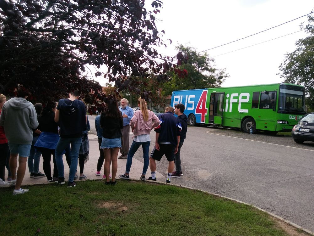Hungary: OM Hungarys Istvan Horvath speaks with students before they visit Bus4Life. More Info