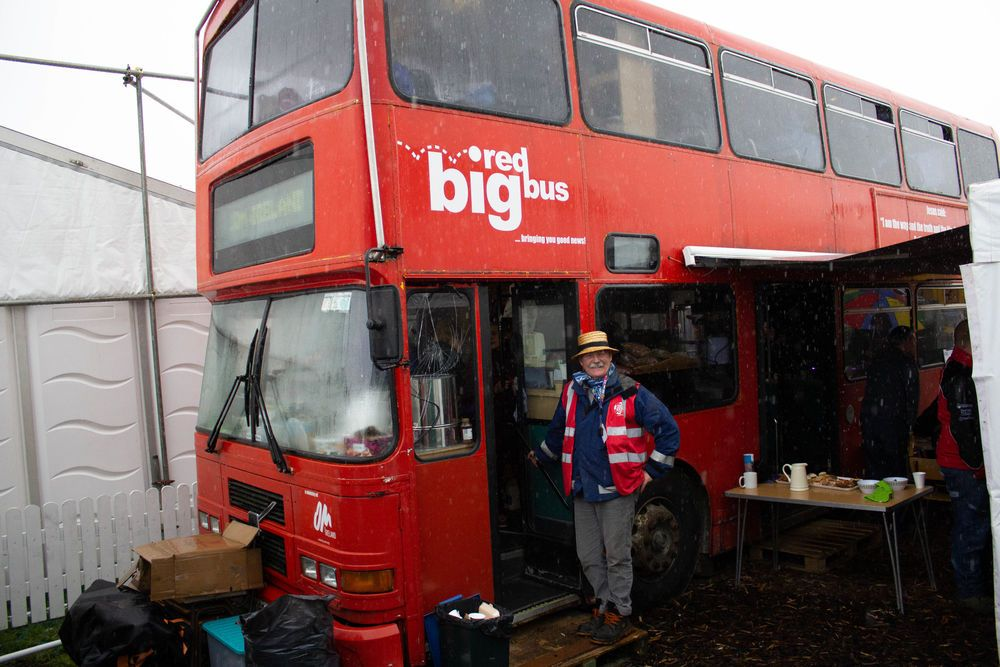 OM Irelands Big Red Bus driver, Colm, saw his dream come true in 2018 when the Bus was finally brought into the National Ploughing Championships after a windstorm destroyed the tent.