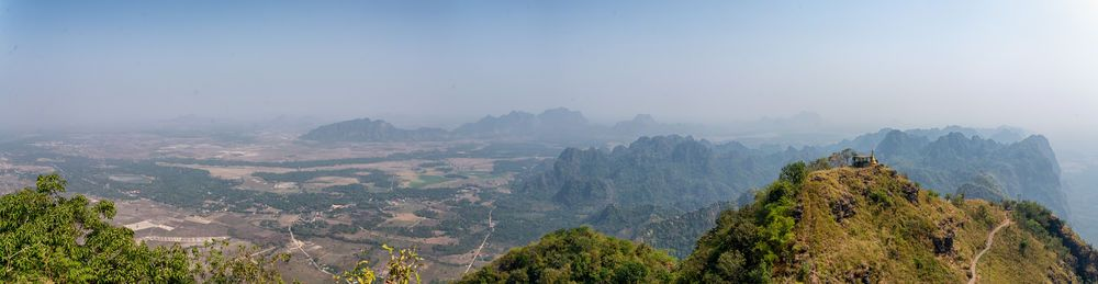 South East Asia: Hpa-an is small city with mountains and fields scattered around it. In the distance you can see a peak adorned with a small Buddhist shrine. More Info