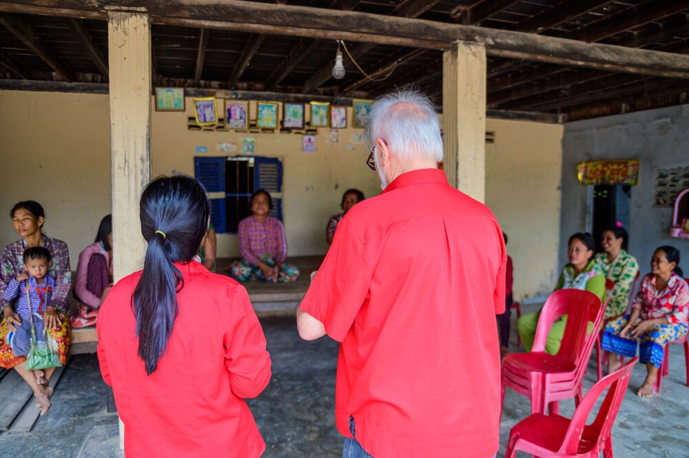 Cambodia: Johan and Mom from the Cambodia team leading a bible study in a village. More Info