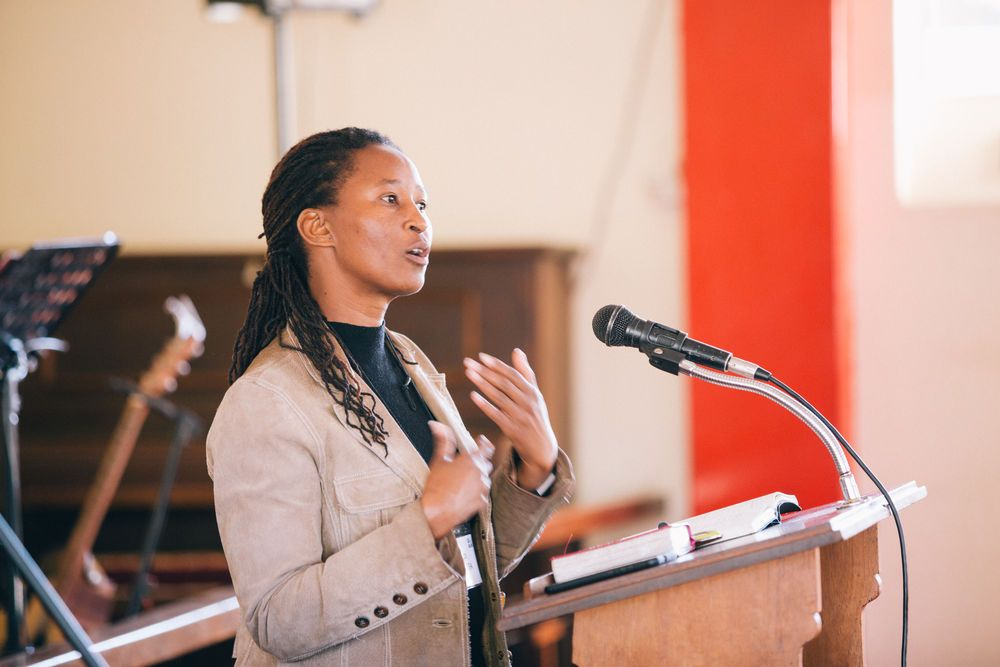 OM in Zimbabwe Fielder Leader, Jessica Shumba  preaches during a conference