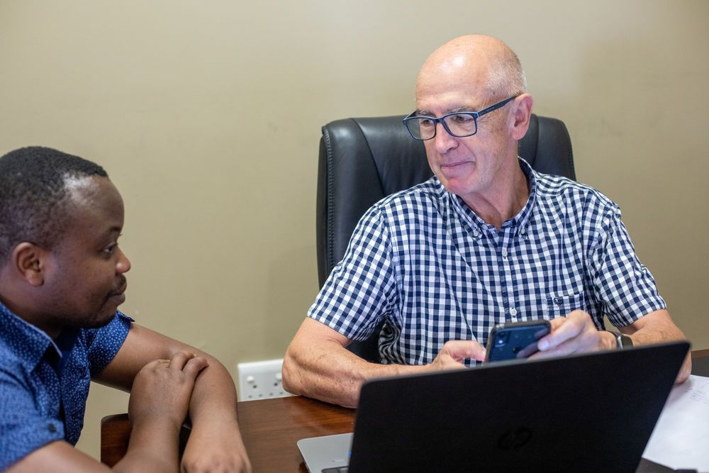 South Africa: Van Zyl in the office. Photo by Rebecca Rempel. More Info