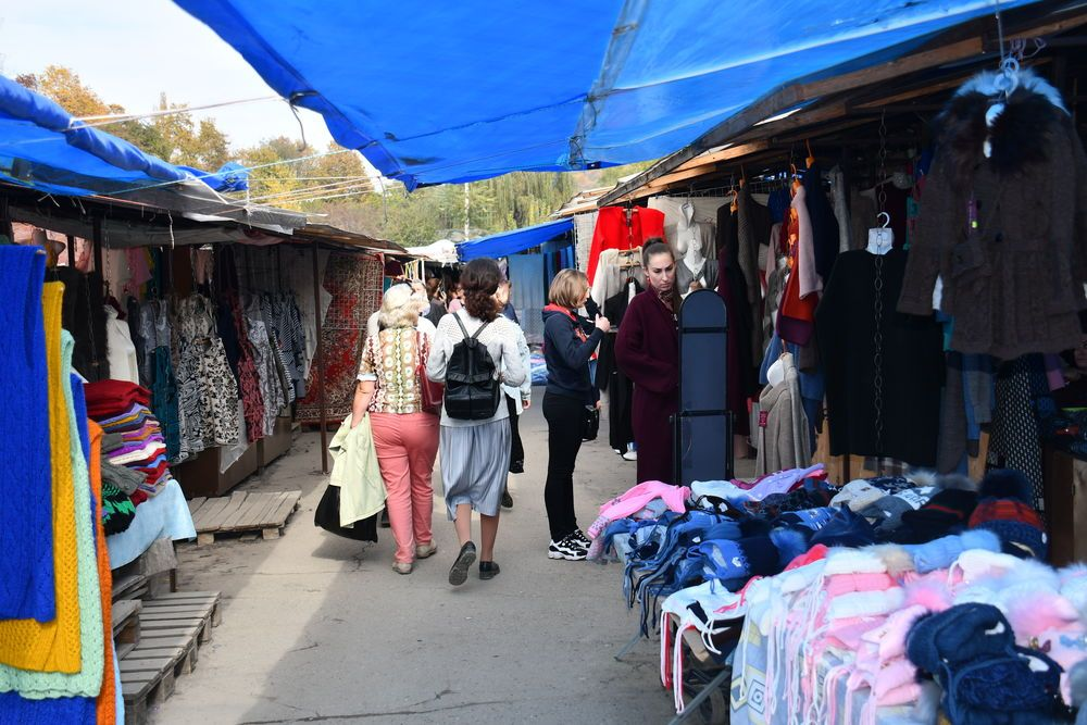 People at a market in the Caucasus.