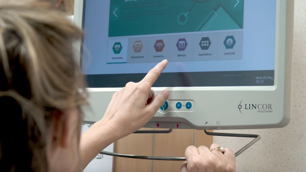 Arabian Peninsula: Theresa, a physical therapist in the Middle East, uses technology in her treatment room at the hospital. Photo by Jay S. More Info