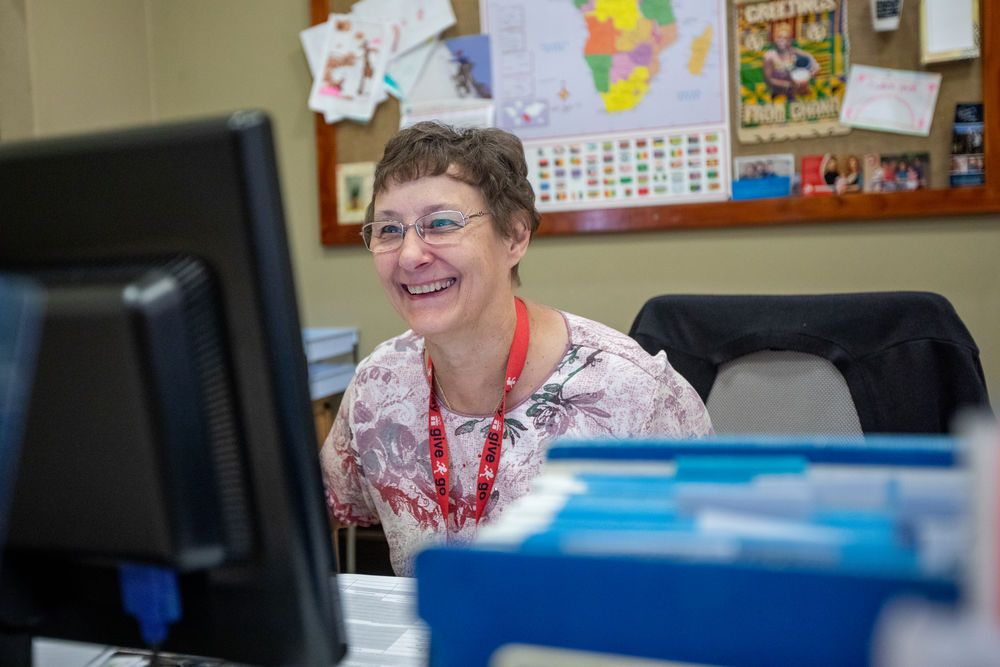 Jane, from the USA, working in the finance department at the OM office in South Africa. Photo by Rebecca Rempel.